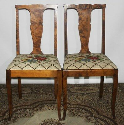 A Pair of Vintage Walnut Fiddle Back Chairs - FREE Shipping [PL2678]