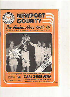 1980/1  Newport County v Carl Zeiss Jena  (Cup Winners Cup)