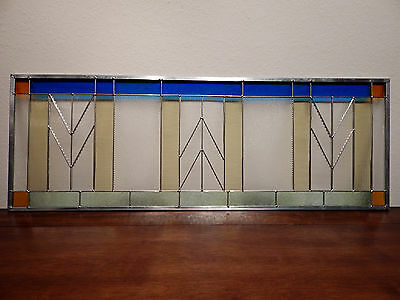 "PRAIRIE Stained Glass Window Panel Transom 12 3/4"" x 36"" by Adair Glass Design"