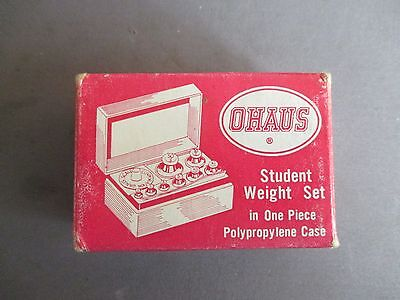 Ohaus Student Metric Weight Set Fractional & Gram Weights, Case Missing Forceps~