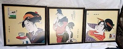 3 Antique/Vintage Japanese Woodblock Geisha Prints On Silk. Signed.
