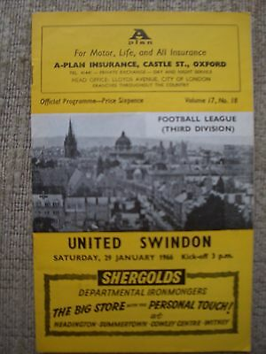 1966...OXFORD UNITED v SWINDON TOWN.......Division  3.....Football Programme
