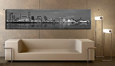 6ft x 16in Black & White Liverpool Skyline Canvas Ready to Hang