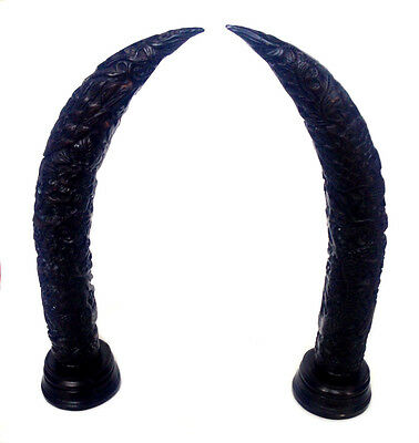 SALE NO RESERVE! CHINESE Black Dragon & Phoenix Carved Pair Horns Black Lacquer