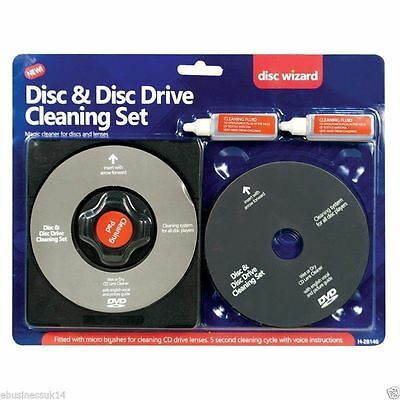 CD DVD Cleaner & Wet/Dry Laser lens Cleaner + 2 x Cleaning Fluid For XBOX PS3