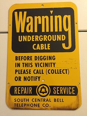 Vintage South Central Bell Telephone Company Cable Metal Warning Sign