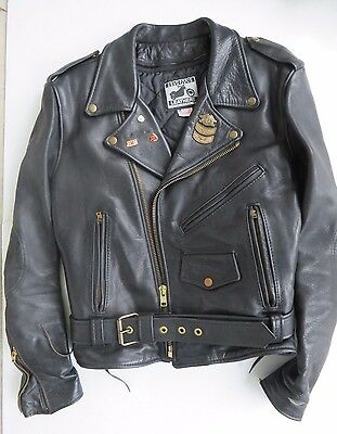 Vintage Harley Davidson Leather Jacket with Pins Sz 42 Made in USA HEAVY