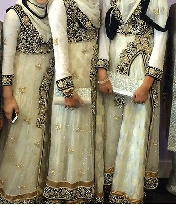 Indian Long Gown White And Black With gold embroidery