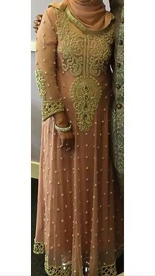 Pakistani Style Peach long Gown With gold Embroidary