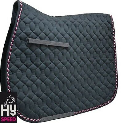 HySPEED Deluxe Saddle Pad – PONY – GREY with Black Red & White Cord binding