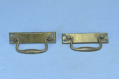 Antique SET of 2 CAST BRASS DRAWER HANDLES PULLS FURNITURE HARDWARE OLD LOT #62A