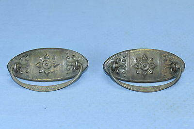 Antique SET of 2 EMBOSSED METAL OVAL HANDLES DRAWER PULLS HARDWARE OLD LOT #60A