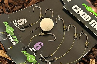 Korda Ready Tied Chod Rigs Size 6 Long Barbless X3 Carp Fishing Rig Kcr029