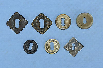 Antique MIXED LOT 7 VICTORIAN WOOD KEYHOLE COVERS ESCUTCHEONS HARDWARE LOT #50A