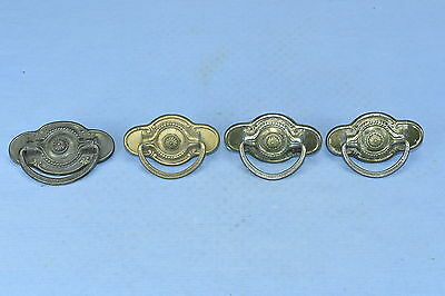 Antique SET of 4 BRASS WASH METAL EASTLAKE EMBOSSED DRAWER PULLS OLD LOT #70A