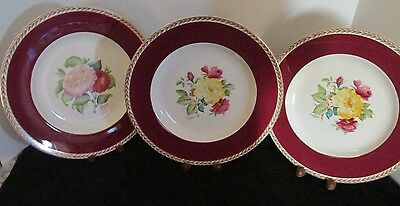 "3 Pcs Ducal England Hp Signed Camelia & Rose 10 3/8"" Dinner Plates Mint!"
