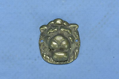 Antique LION HEAD MEDALLION VICTORIAN BRASS DROP HANDLE PULL HARDWARE LOT #32A