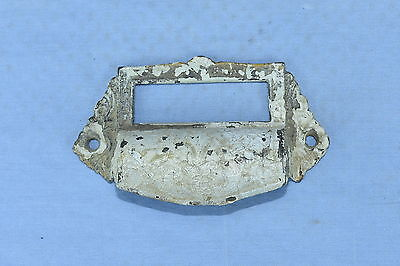 Antique CAST IRON FILE DRAWER APOTHECARY CABINET PULL HARDWARE CONTENT SLOT #85A