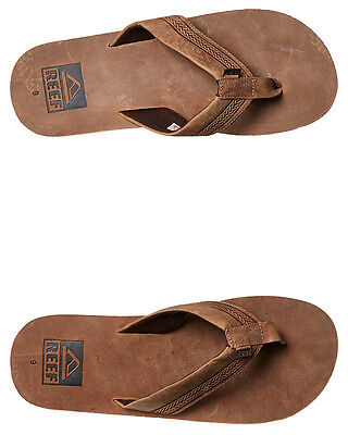 New Reef Men's Sur Leather Thong Rubber Leather Mens Shoes Brown