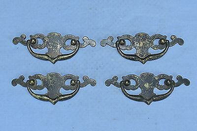 Antique SET of 4 CAST BRASS EASTLAKE HANDLES PULLS DRAWER HARDWARE OLD LOT #63A