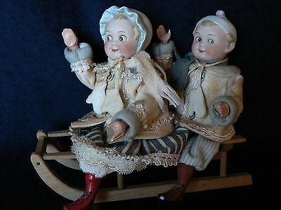Antique RARE Googly Dolls Sled Christmas Candy Container Berthold Batz Factory
