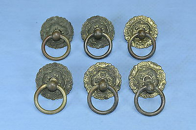 Antique SET of 6  ROUND VICTORIAN EMBOSSED BRASS DRAWER PULLS HARDWARE LOT #41A