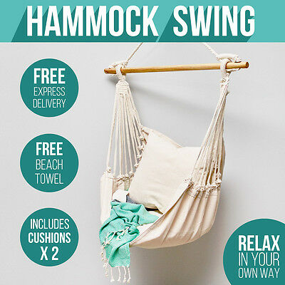 FREE Beach TOWEL with HAMMOCK Chair Swing INCLUDES Luxuriously Soft Cushions SLi
