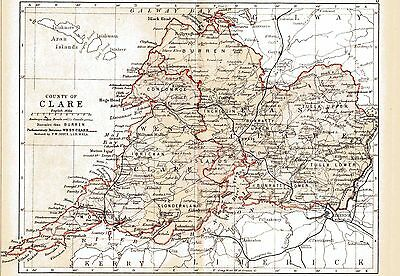 Print of A4 size 1897 map of County Clare. Ireland.