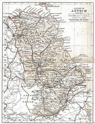 Print of A4 size 1897 map of County Antrim. Ireland.