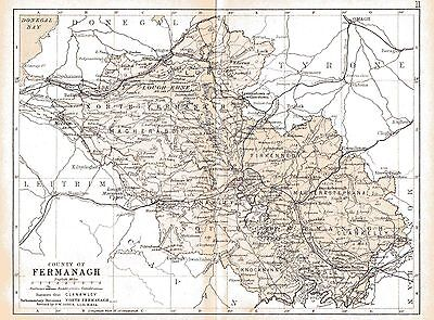 Print of A4 size 1897 map of County Fermanagh. Ireland.