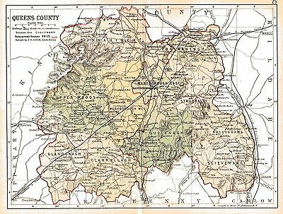 Print of A4 size 1897 map of Queen's County. Ireland.
