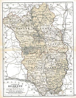 Print of A4 size 1897 map of County Kilkenny. Ireland.
