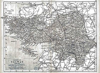 Print of A4 size 1897 map of County Galway. Ireland.