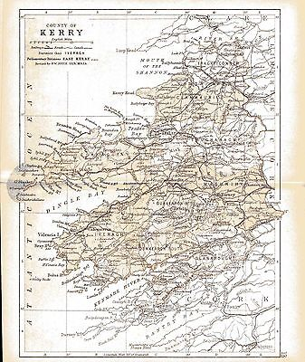 Print of A4 size 1897 map of County Kerry. Ireland.