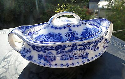 Antique Victorian Flow Blue Covered Vegetable Dish w/ Gold