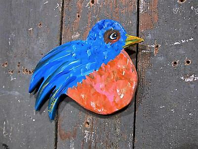 BLUE BiRD~Original HAND CUT WOOD painting~KENO FOLK Artist~COASTWALKER~USA