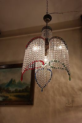 Antique Vnt RARE Retro style Swarovski Cut Crystal Chandelier Light 1940's 16 in