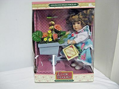 """Older Collectors Choice 8"""" Fine Bisque Porcelain Marked Doll/Floral-OrgBox,COA"""