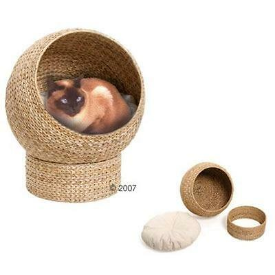 Elegant CAT Sleeping Den Bed LARGE Pet NATURAL Woven Cats New LINEN With Cushion