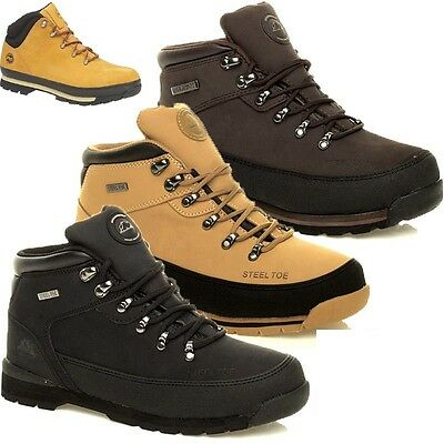 Mens Leather Safety Boots Trainers Steel Toe Cap Ankle Work Boots Shoes Trainers