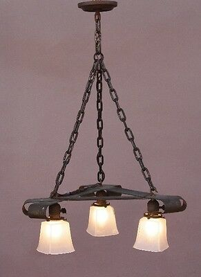 Early 1900s Triangular Copper 3 Light Chandelier Arts & Crafts Craftsman (9760)