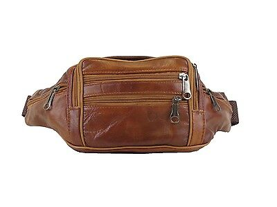 Cowhide Leather Multi Pockets Fanny Pack - Brown Color