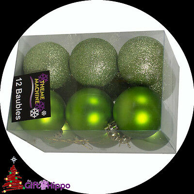 Christmas Decorations - 12 Pack Apple Green Glitter & Plain Baubles - 60mm