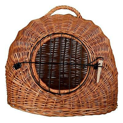 Wicker Cat Basket DEN Pet Bed Carry Handle REMOVABLE DOOR Transport Box Lying • EUR 36,10