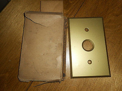 Vntg Brass Push Button Light Switch Plate Cover Single H & H Tumbler Switch NOS-