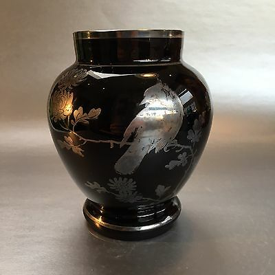 Art Deco Black Amethyst Silver Overlay Rockwell Glass Vase Antique