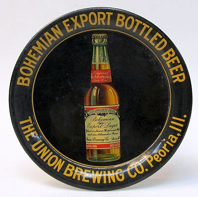 rare c.1910 BOHEMIAN EXPORT BEER Union Brewing PEORIA ILL. tin litho tip tray *