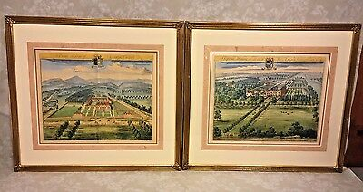 Pair of Antique 18th C Hand Colored Engravingss by Johannes Kip Delin  Nibley, T