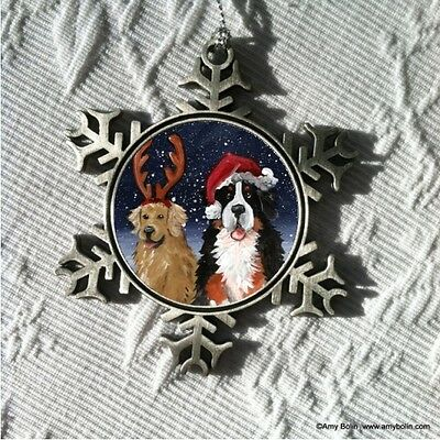 CHRISTMAS BUDDIES BMD & GOLDEN  Pewter Snowflake Christmas Ornament by Amy Bolin