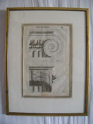 Architecture 18thC Bookplate Copper Engraving WITH THE MODERN Roland Freart p 63